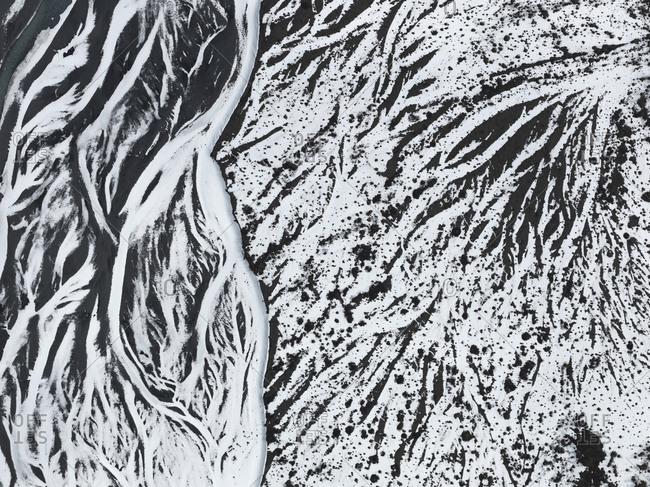 Aerial view patterns in snow of Colony Glacier, Knik Valley, Anchorage, Alaska, USA