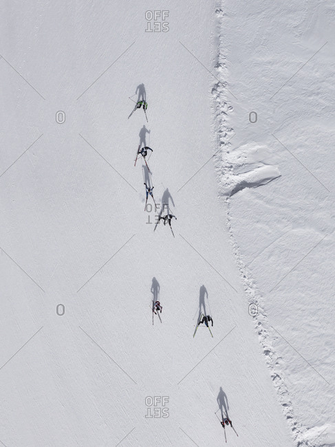 May 29, 2018: Aerial view of skiers on snowy slope, St. Moritz, Switzerland