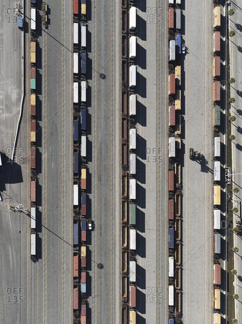 May 29, 2018: Aerial view trains in sunny shunting yard, Los Angeles, California, USA