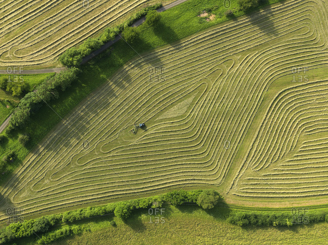 Aerial view tractor in patterned green agricultural crop, Hohenheim, Baden-Wuerttemberg, Germany