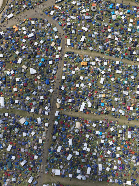 May 29, 2018: Aerial view of sunny Southside Festival, Neuhausen ob Eck, Baden-Wuerttemberg, Germany