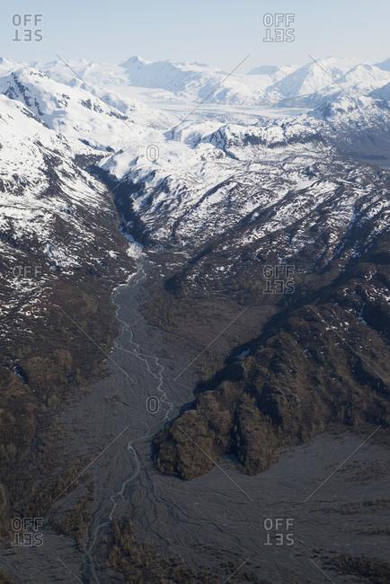 Snowy mountains and Colony Glacier, Knik Valley, Anchorage, Alaska, USA