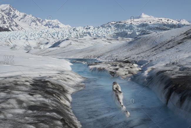 Glacial stream, Colony Glacier, Knik Valley, Anchorage, Alaska, USA