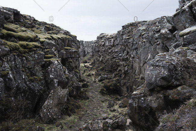 Craggy pathway, Pingvellir, Iceland