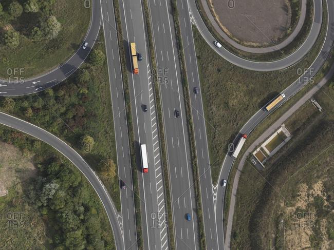 Aerial view highway near Frankfurt, Hessen, Germany