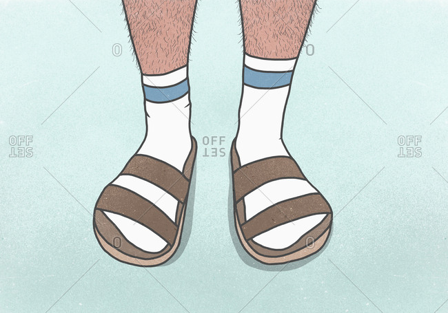 Low section man with hairy legs wearing socks and sandals