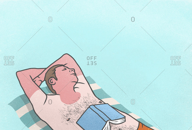 Sunburned man with book sleeping on towel