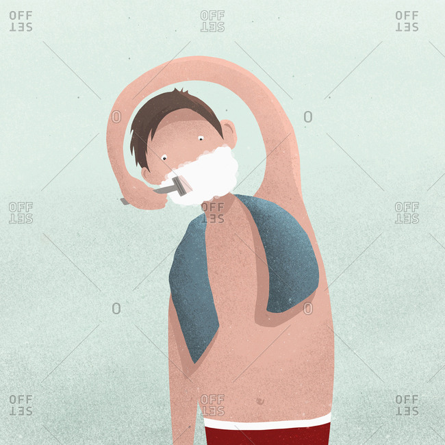 Man with outstretched arm shaving face