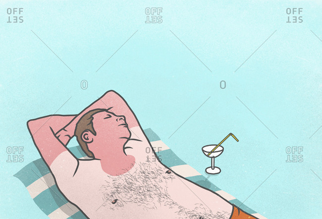 Sunburned man with cocktail sleeping on towel