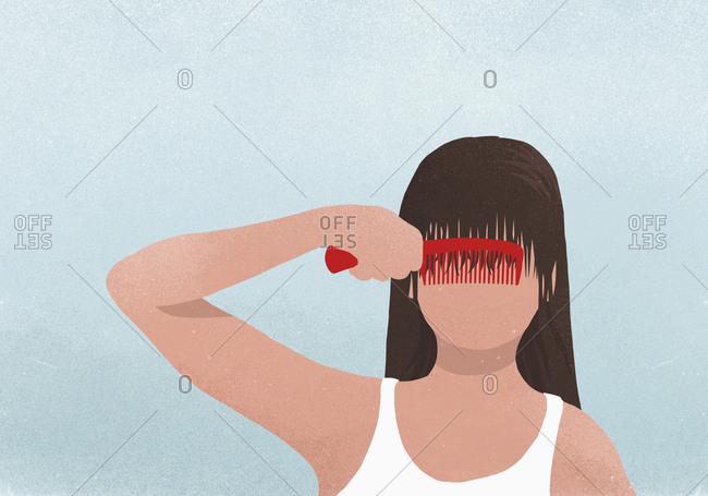 Brunette woman combing bangs - Offset
