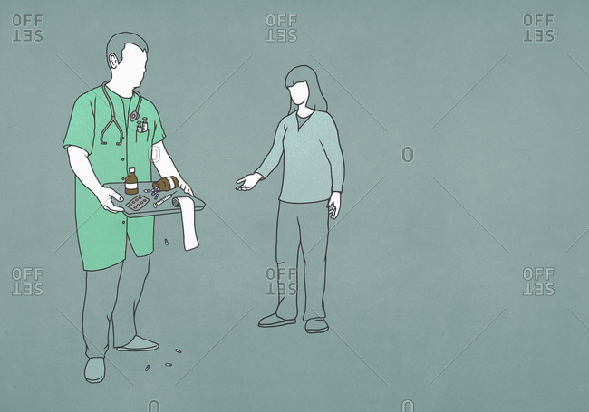 Patient reaching for doctor with tray of medicine and equipment