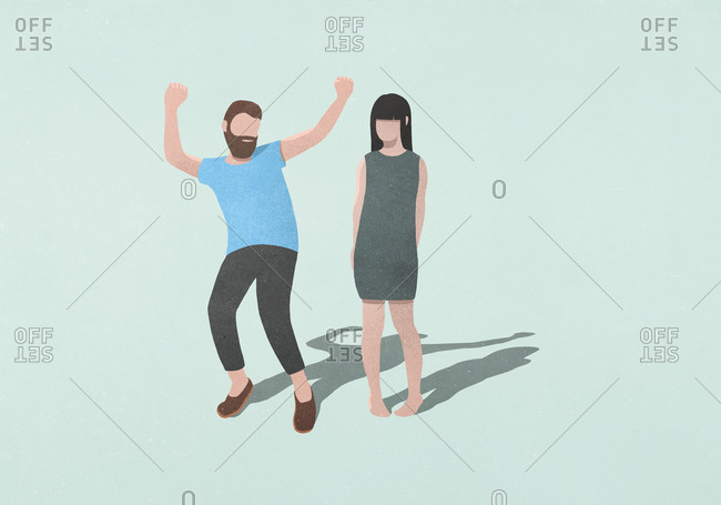 Couple dancing on blue background