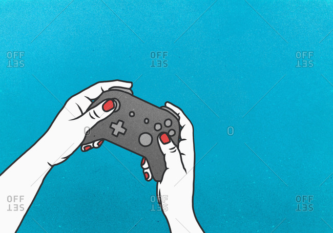 Woman playing video game with video game controller on blue background