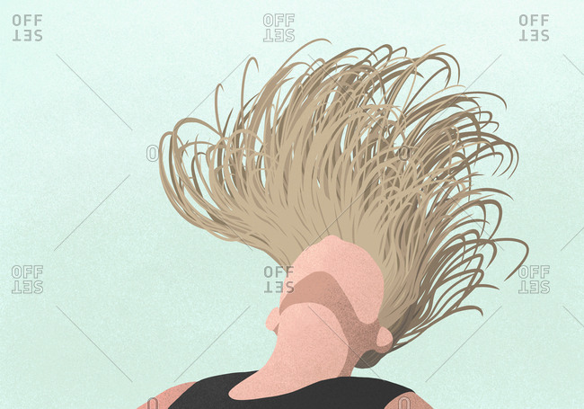 Carefree woman flipping hair