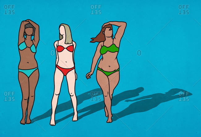 Women with different bodies in bikinis on blue background