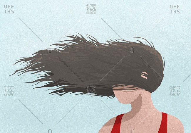 Wind blowing womans hair