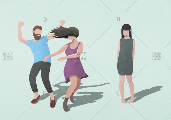 Shy woman watching carefree couple dancing