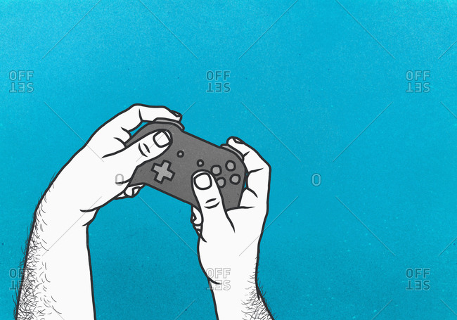 Man playing video game with video game controller