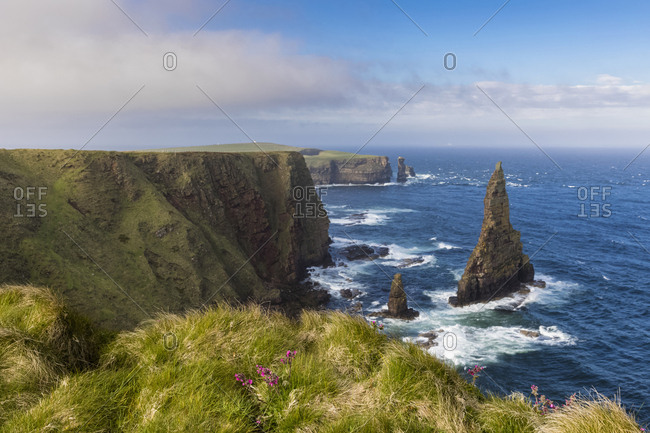 UK- Scotland- Caithness- Coast of Duncansby Head- Duncansby Stacks