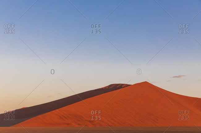 Africa- Namibia- Namib desert- Naukluft National Park- red-hot sand dune at afterglow