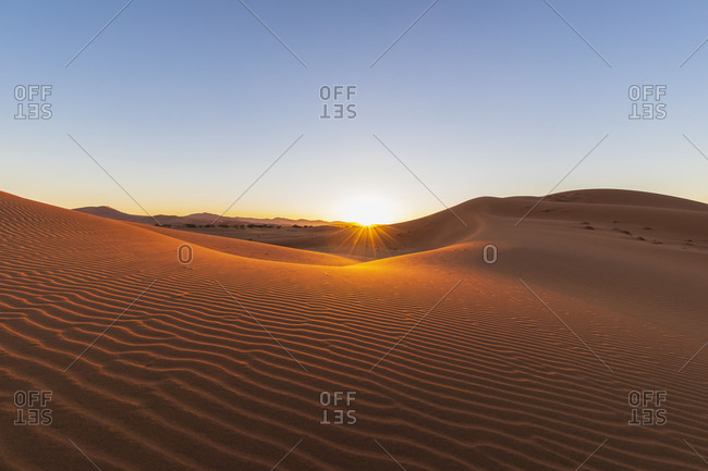 Africa- Namibia- Namib desert- Naukluft National Park- sand dunes against the morning sun