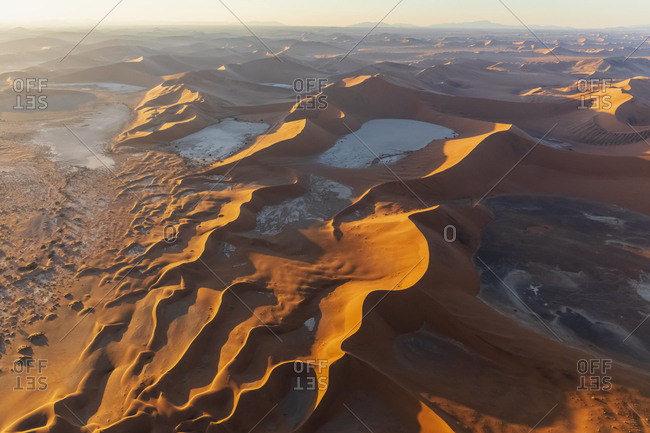 Africa- Namibia- Namib desert- Namib-Naukluft National Park- Aerial view of desert dunes- Dead Vlei and 'Big Daddy' in the morning light