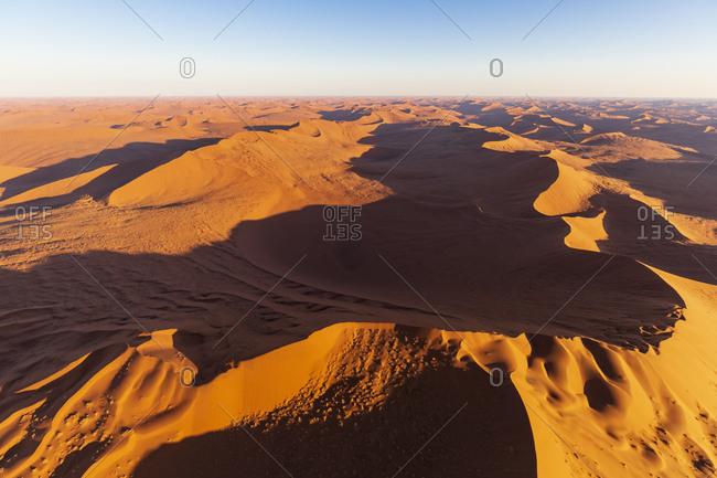 Africa- Namibia- Namib desert- Namib-Naukluft National Park- Aerial view of desert dunes