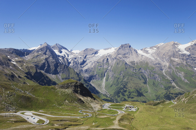 Austria- Grossglockner High Alpine Road- view from Edelweissspitze to Grosses Wiesbachhorn and Grossglockner