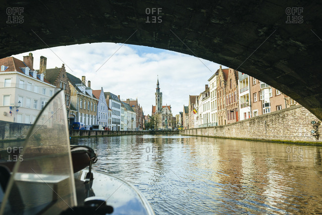 Belgium- Flanders- Bruges- canal seen from a boat