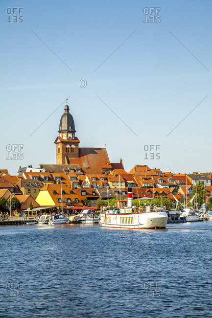 August 17, 2018: Germany- Mecklenburg-Western Pomerania- Waren an der Mueritz- Old town- tourboat at harbor