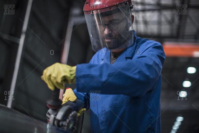 Worker working in steel factory