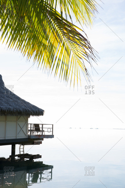 Palm fronds and overwater bungalow on tropical island