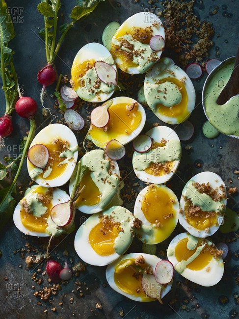 Soft Boiled Eggs with Green Goddess Dressing & Brown Butter Breadcrumbs