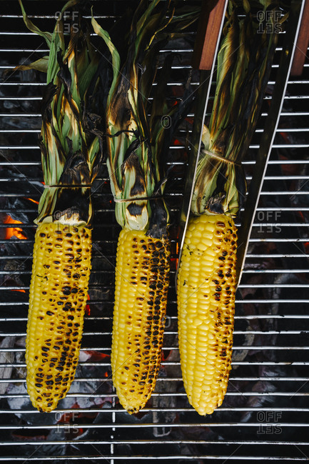 Overhead view of grilling corn