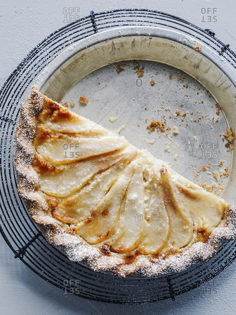 Half of a pear custard pie