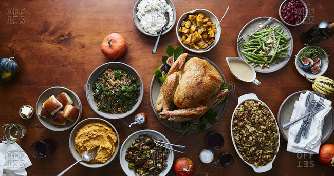 Holiday meal from above