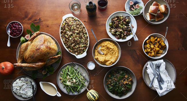 Overhead view of a holiday meal