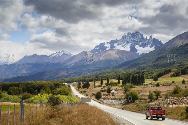 Patagonia, Aysen Region, Chile - February 18, 2016: Cerro Castillo seen from the Carretera Austral Road