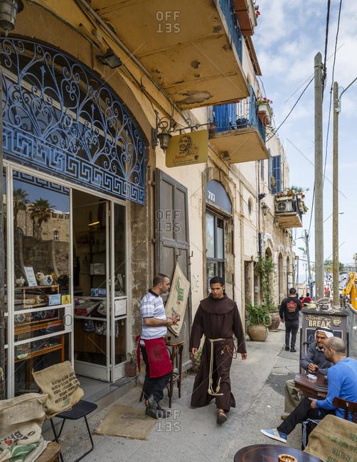 Jaffa, Israel - March 30, 2016: People at Basma Cafe, Jaffa, Israel
