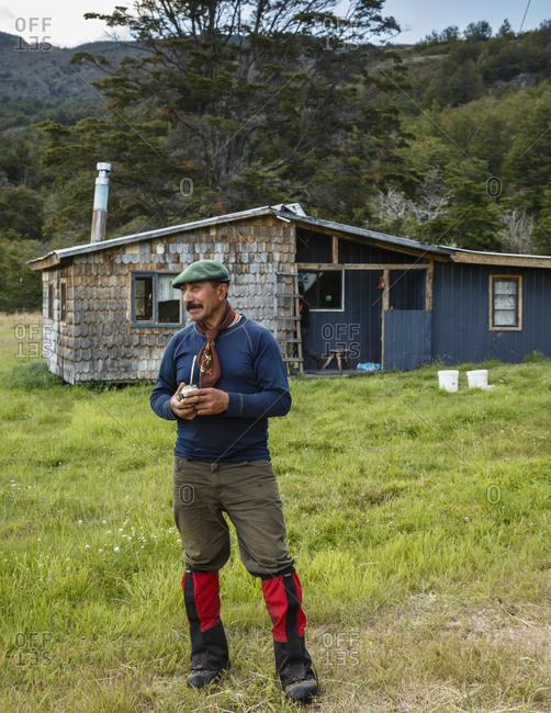Patagonia, Aysen Region, Chile - February 17, 2016: Portrait of man in Parque Patagonia