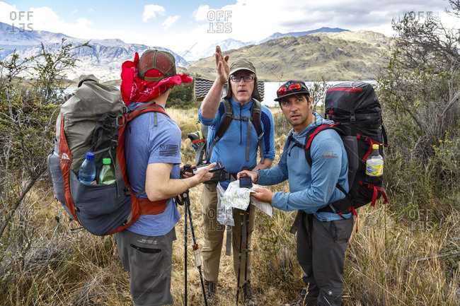 Patagonia, Aysen Region, Chile - February 15, 2016: Men navigating at the Chacabuco Valley, Parque Patagonia