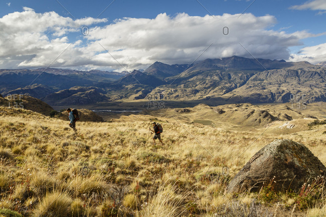 Patagonia, Aysen Region, Chile - February 16, 2016: Hikers at the Chacabuco Valley, Parque Patagonia, Aysen Region, Chile