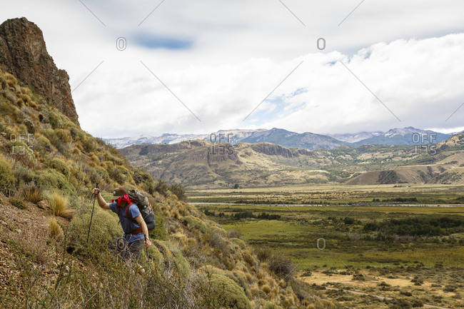 Patagonia, Aysen Region, Chile - February 15, 2016: Hiker at the Chacabuco Valley, Parque Patagonia, Aysen Region, Chile