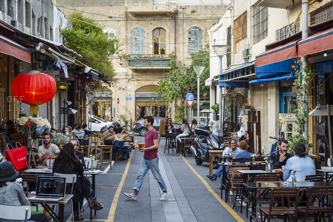 Jaffa, Israel - April 3, 2016: Restaurants and bars at the Flea Market area, Jaffa, Israel