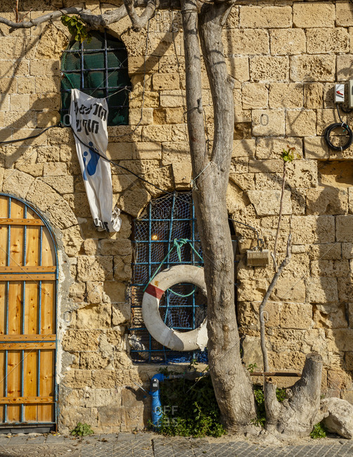 Jaffa, Israel - April 3, 2016: Detail of an old house in the port area, Jaffa, Israel