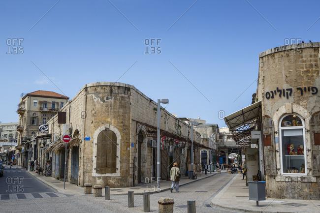 Jaffa, Israel - March 30, 2016: Street scene in Jaffa, Israel