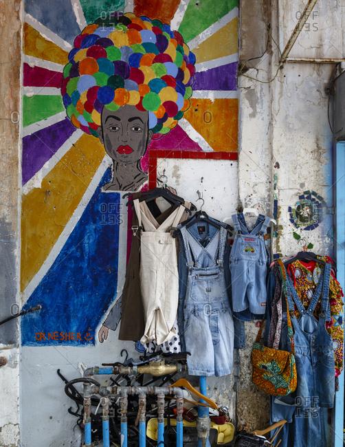 Jaffa, Israel - April 3, 2016: Detail of a wall at the flea market area, Jaffa, Israel