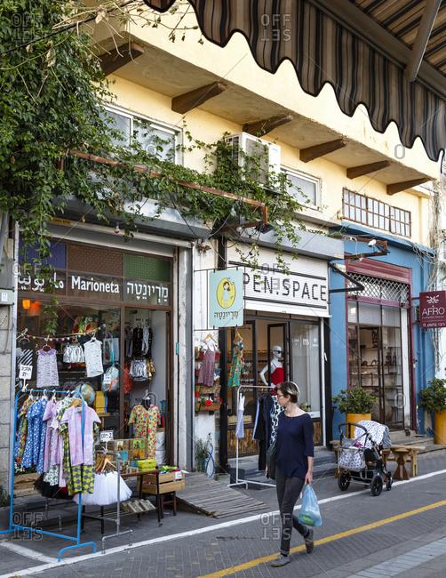 Jaffa, Israel - April 3, 2016: Trendy shops at the Flea Market area, Jaffa, Israel