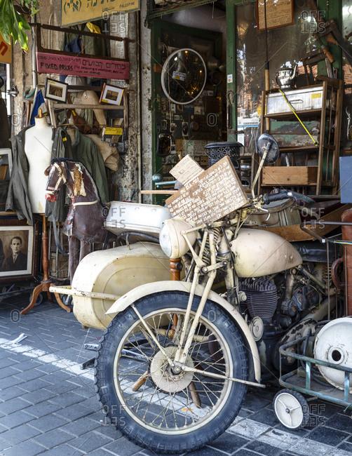 Jaffa, Israel - April 3, 2016: Detail at a shop in the flea market, Jaffa, Israel
