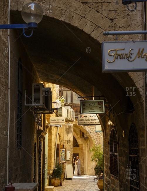 Jaffa, Israel - March 30, 2016: Alley in Old Jaffa, Israel